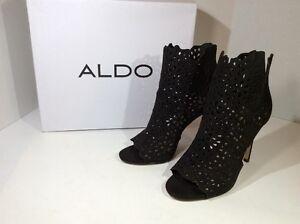 Aldo Womens Sz 8.5 Lace Booties Open Toe, Black Z5-245