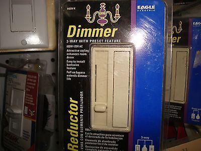 COOPER Three 3-Way Slide Dimmer thin Decorator Preset Switch Ivory 6423V 1 pc