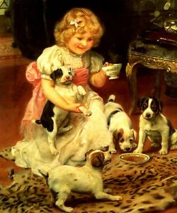 Tea Time Little Girl Playing With Puppies Dog Painting By Arthur