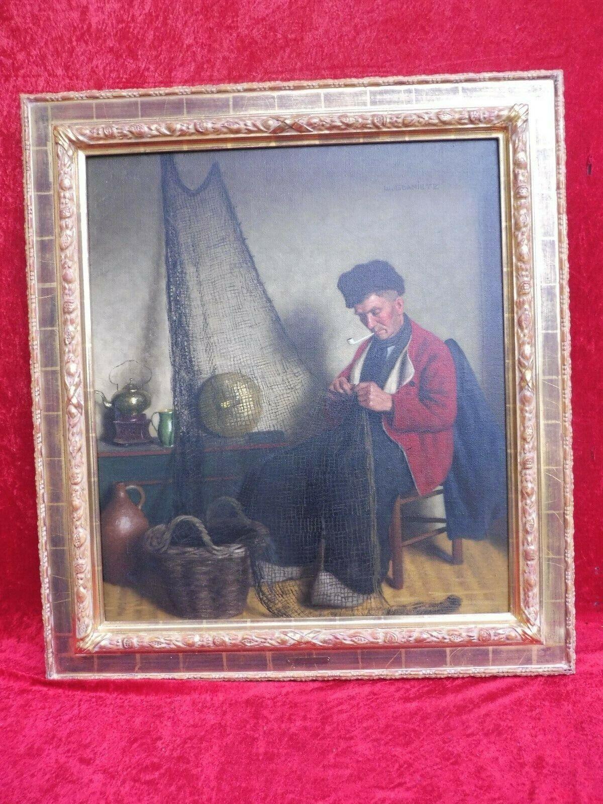 Künstler-Gemälde  , Fischer beim Netz flicken , original Ölgemälde , W.Gdanietz