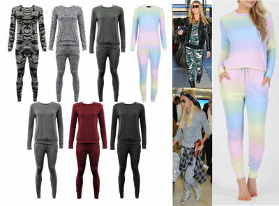 Womens Celebrity Camo Rainbow Plain Sweat Top Jogging Bottoms Lounge Tracksuit