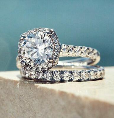 4.15Ct Single Halo Cushion Cut Diamond 14k White Gold Engagement Trio Ring Set