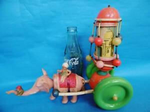 Old Vintage Merry-go-round Elephants Pull Swing Head Spring Power Celluloid F/S