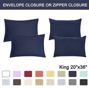 2-Pcs-King-Size-Pillowcases-Soft-1800-Microfiber-Pillow-Case-Covers-17-Colors