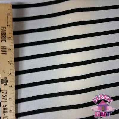 Jersey Knit Polyester Poly Spandex Black /& White Thin Stripe Fabric by the Yard