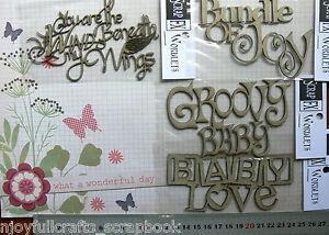 CHIPBOARD-DieCut-WIND-BENEATH-MY-WINGS-amp-BABY-WORDS-4-Style-Choice-Scrap-FX-B