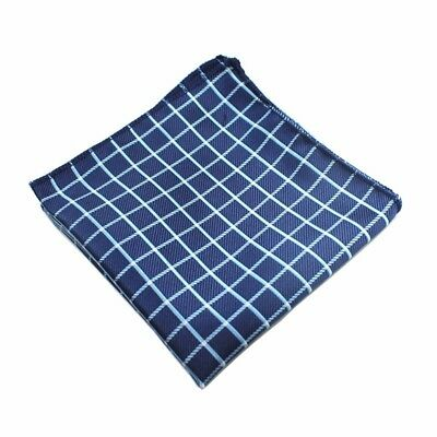 New 100% Silk Blue Plaid Checked Handkerchief Pocket Square Hankie Wedding Gift