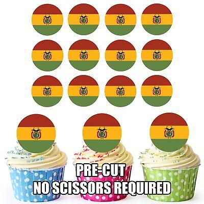 24 Edible Cupcake Toppers Birthday Cake Decorations Barbados Flag Easy Precut Circles
