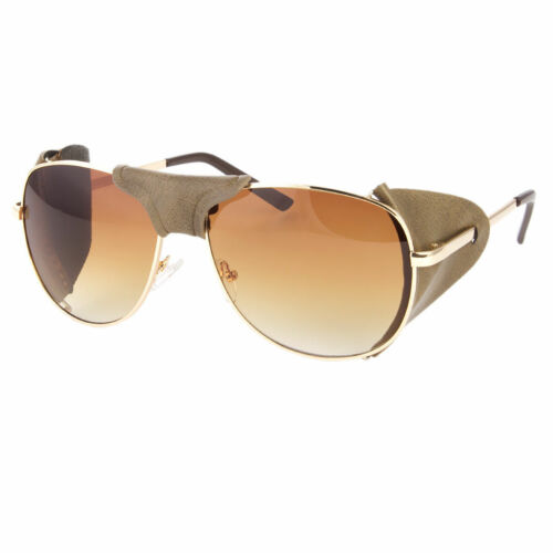 FAUX LEATHER SIDE SHIELD AVIATOR SUNGLASSES CLASSIC MOTORCYCLE WIND GUARD