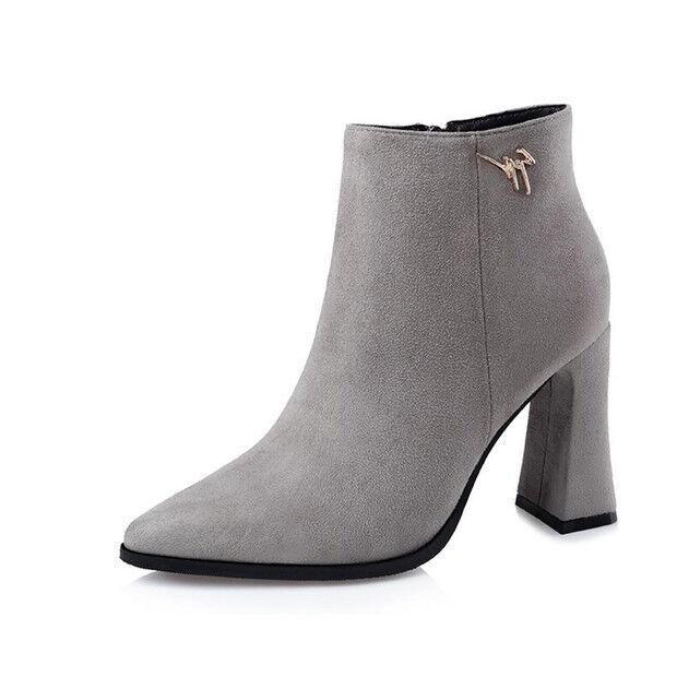 bottes stivaletti bassi chaussures stiletto 9 cm gris eleganti simil pelle 9606