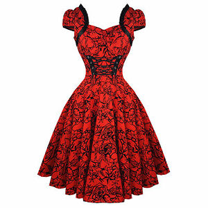 Hearts-amp-Roses-London-Red-Tattoo-1950s-Rockabilly-Vintage-Party-Prom-Dress-UK