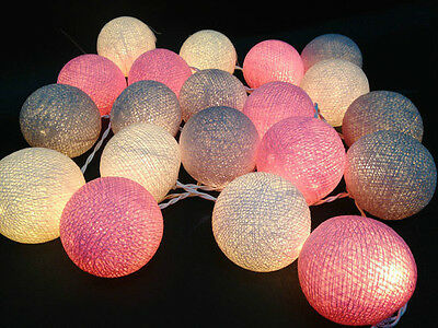 mixed 20 White-Pink-Gray  cotton ball string lights for Patio,Wedding,Party