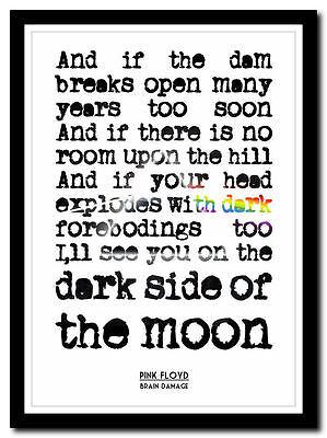 4 sizes lyric poster ❤ typography art print moon PINK FLOYD Brain Damage