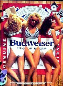 1989 Sexy Women Swim Suits Beach Wear Budweiser Beer Pin Up Promo