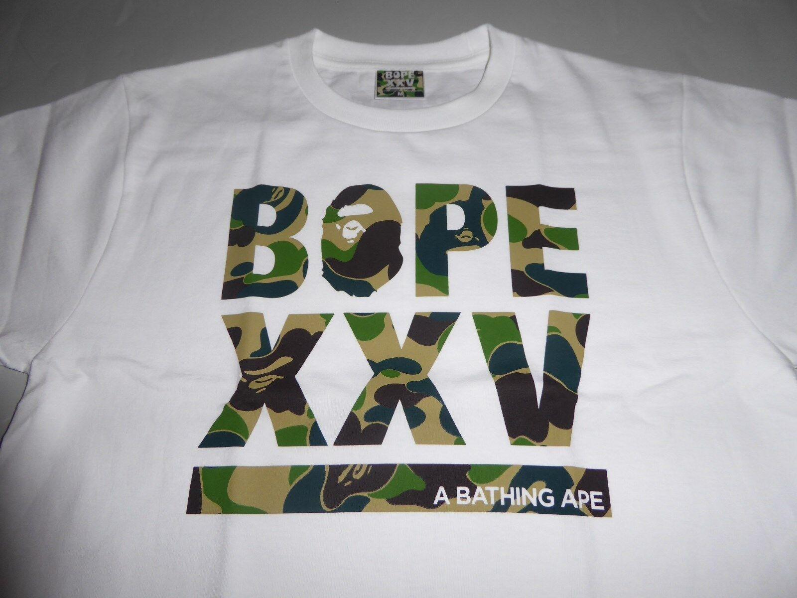 17293 bape xxv cities camo logo white green tee L