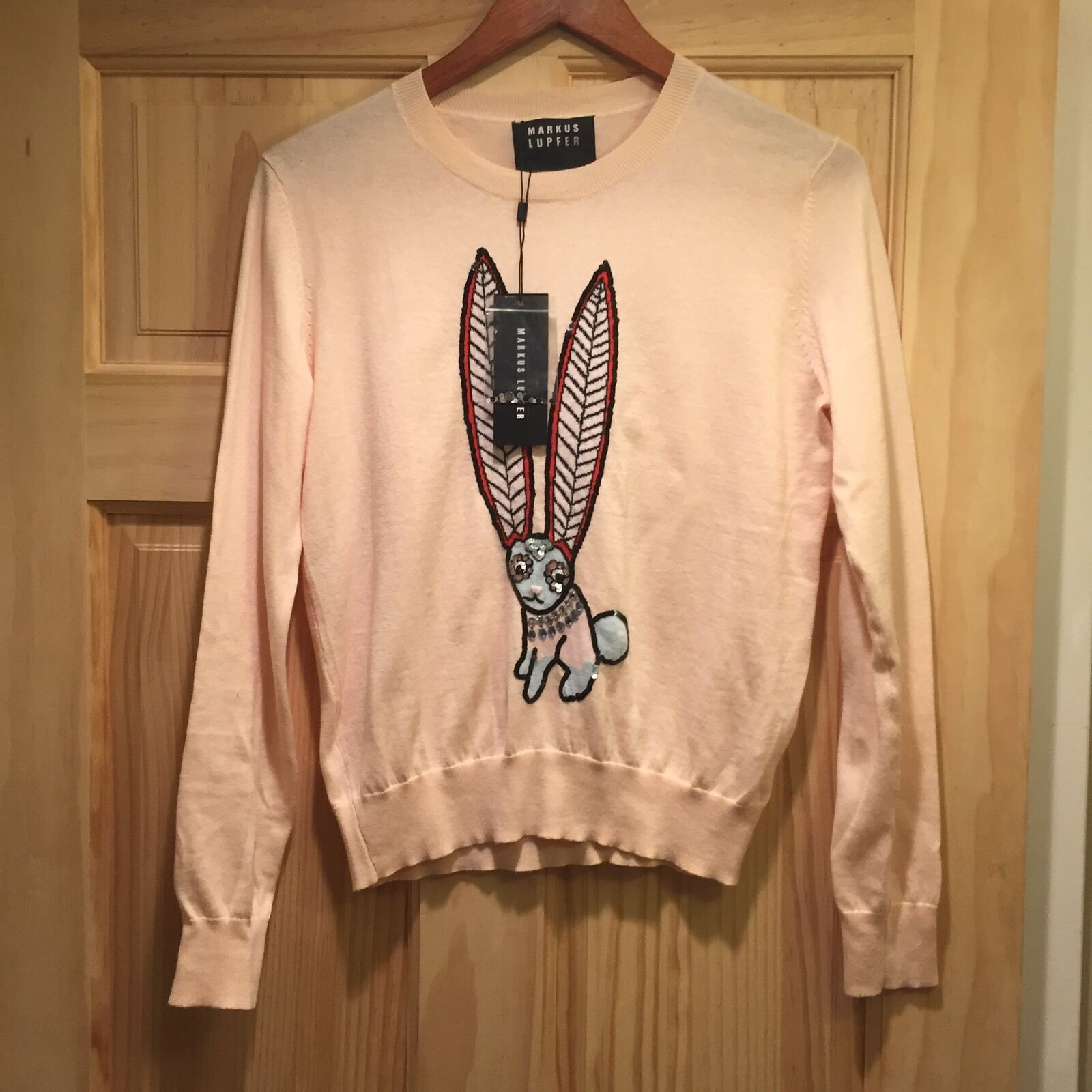 Markus Lupfer Mexican Hare Bunny Rabbit Sequin Sweater Sweater Sweater Free Embellished People 04ebdd