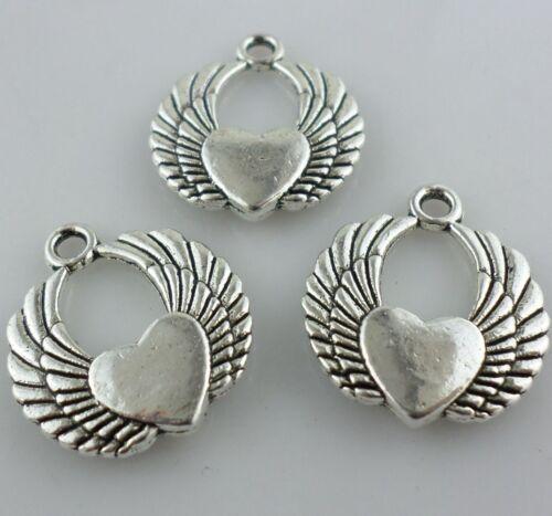 6//12pcs Tibetan Silver Angel Love cœur ailes Charms Crafts Pendentifs 19x22mm