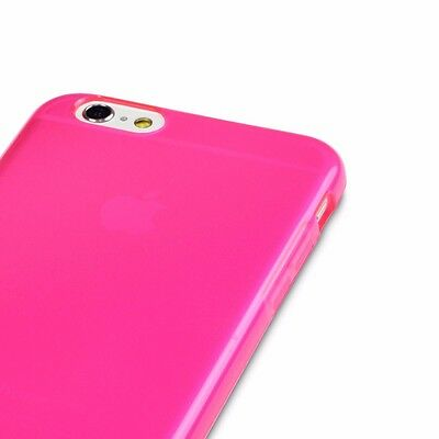 Neon Apple iPhone 6 6S Bumper Silicone Flex Gel Cover Pink FREE SCREEN PROTECTOR