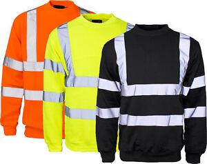 Hi Viz Crew Nick Fleece Jumper Sweatshirt Visibility Work Security Top
