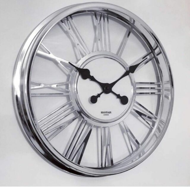 Clear Gl Chrome Frame Large Roman Numeral Wall Clock Kitchen Office 40cm