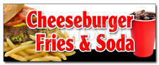 Cheeseburger Fries Soda Decal Sticker Lunch Dinner Special Food Value
