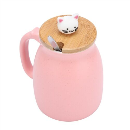Lovely Cat Ceramic Cup with Spoon and Lid  Coffee Water Milk Mug for Dri  FD
