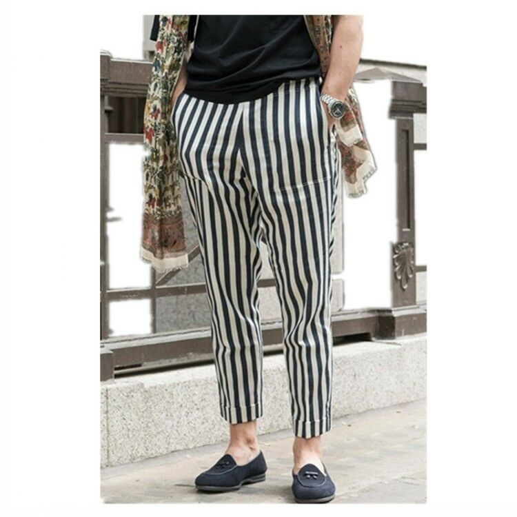 British Style Mesn Striped 9 10 Length Loose Fit Casual Linen Trousers Comfy hot