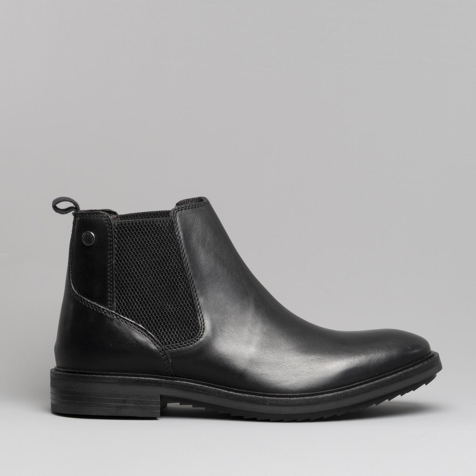Base London Bosworth Black Leather Mens Brogue Pull On Chelsea Ankle Boot Shoe