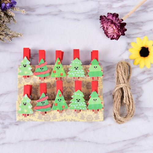 10x//Set Christmas Tree Wood Clips Photo Paper Pegs Clothespin Craft Decor OJ