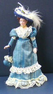 1-12-Scale-Victorian-Lady-In-A-Blue-Dress-Dolls-House-Miniature-Doll-Accessory-E