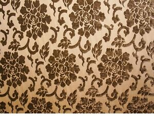 Mocha Shelby 344 Floral Velvet Upholstery Drapery Fabric By The Yard