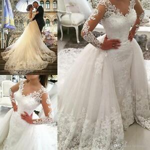 White-Wedding-Dresses-Bridal-Gowns-Long-Sleeve-Ball-Gown-Train-Lace-Custom-Size