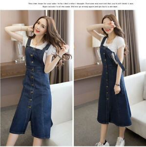 ed58ace4b7 Image is loading Women-Denim-Dungaree-Overall-Dress-Long-Cotton-Jean-