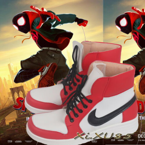 Superhero Cosplay Spiderman Miles Cosplay Shoes Halloween Custom Made Spider Man