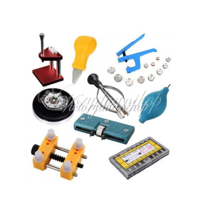Uhrmacherwerkzeug Gehäuseöffner Gehäusehalter Einpresswerkzeug Blasebalg Lupe