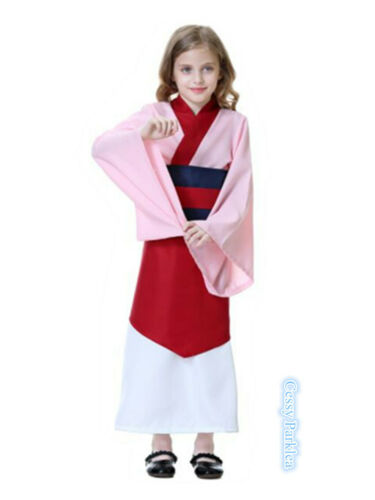 E3 Kid Hua Mulan Pink /& Red Dress Movie Ancient Oriental Girl Book Week Costume