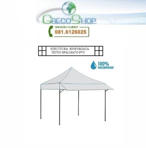 Gazebo pieghevole Bianco c//pensilina//tettoia 3x3m Super Ignis Shelter alluminio