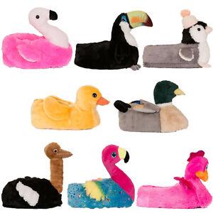 Loungeable Damen 3D Tootsie Tukan Pantoffeln Damen Neuheit Vogel Tier Schuhwerk