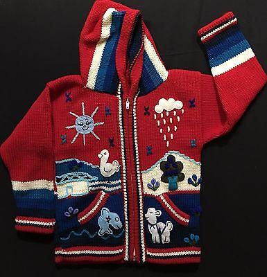 Child/'s Arpillera Handmade Peruvian Sweater From Peru Red 4T