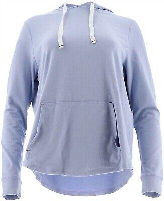 AnyBody Loungewear Cozy Knit Hooded Cardigan Navy L NEW A349790