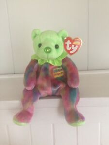 Ty August Birthday Bear Beanie Baby with a Peridot Colored Nose ... 84ae76c49ec6