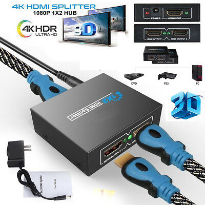 HDMI 1 in 2 out 1080p 4K 1x2 HDCP Stripper 3D Splitter Power Signal  Amplifier US 610877831791 | eBay
