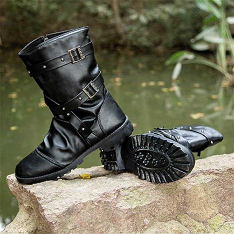 Men's Leather Boots Mid Calf Formal Pointed Toe Motorcycle Biker shoes