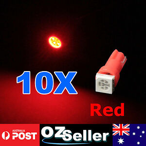10pcs RED T5 5050 SMD LED Light Dashboard Bulb Wedge Globe For Dash Instrument