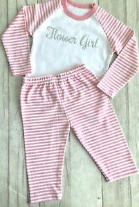 FLOWER-GIRL-WEDDING-PYJAMAS-Pink-and-White-PJs-Silver-Glitter-Flower-Girl-Love