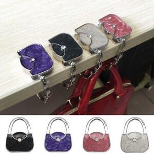 Women Portable Bag Hook Crystal Purse Handbag Holder Folding Table Tote Hanger-W