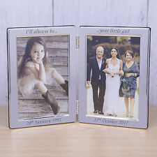 Personalised Wedding Double Silver Photo Frame Dad Father Of Bride