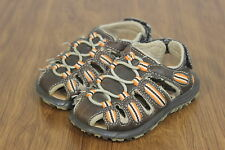 Toddler Boys Carter's Dark Brown & Orange Summer Sandals Close Toe Velcro size 5