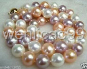 8MM-AAA-Multi-Color-South-Sea-SHELL-PEARL-NECKLACE-18-14K-CLASP