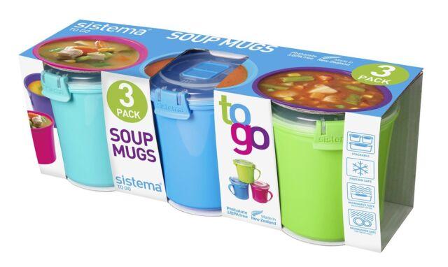 Porridge /& Noodle Bowl To Go Sistema 3 Pack Soup Assorted Colours